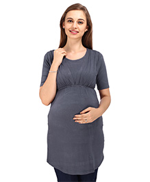 MomToBe Short Sleeves Maternity Nursing Top - Grey