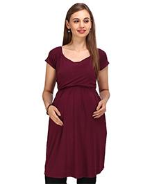 MomToBe Short Sleeves Maternity Nursing Top - Maroon