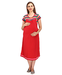 MomToBe Short Sleeves Maternity Dress Stripes & Solid Combination - Red