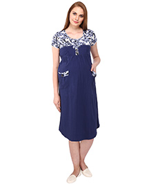 MomToBe Short Sleeves Maternity Dress Floral & Solid Combination - Blue & White