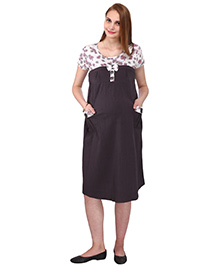 MomToBe Short Sleeves Maternity Dress Floral & Solid Combination - Dark Grey & White