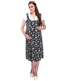 MomTobe Short Sleeves Maternity Dress Floral Print - Black White