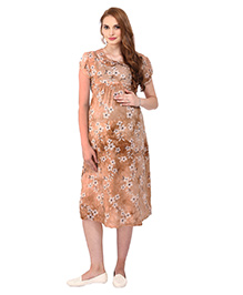 MomTobe Short Sleeves Maternity Dress Floral Print - Brown
