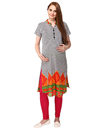 MomToBe Half Sleeves Maternity Kurti Chevron Print - Orange White Black