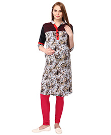 MomToBe Three Fourth Sleeves Maternity Kurti - Black Grey