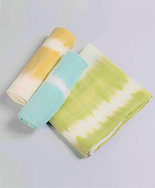 Little West Street Tie Dye Swaddle Set - Green Blue & Orange