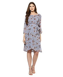 Mine4nine Three Fourth Sleeves Maternity Dress Floral Print - Grey