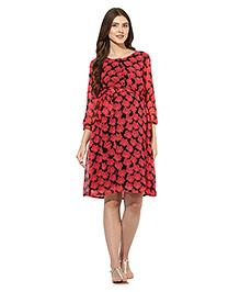 Mine4nine Three Fourth Sleeves Maternity Dress Floral Print - Black & Red