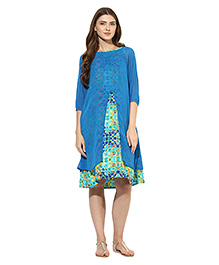 Mine4nine Three Fourth Sleeves Layered Maternity Dress Geometric Print - Blue