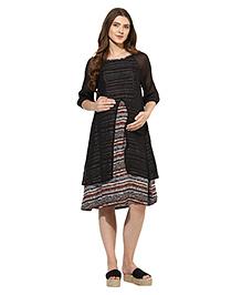 Mine4nine Three Fourth Sleeves Layered Maternity Dress Geometric Print - Black