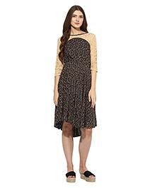 Mine4nine Three Fourth Sleeves Lace Maternity Dress Floral Print - Black