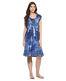 Mine4nine Short Sleeves Knot Front Maternity Dress - Navy Blue