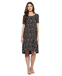 Mine4nine Half Sleeves Pull Over Style Floral Print Maternity Dress  - Black