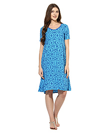 Mine4nine Half Sleeves Pull Over Style Geomertric Print Maternity Dress  - Blue