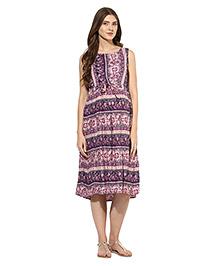 Mine4nine Sleeveless Maternity Midi Dress Floral Print - Purple