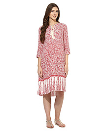 Mine4nine Three Fourth Sleeves Maternity Dress Floral Print - Red