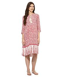 Mine4nine Three Fourth Sleeves Maternity Dress Floral Print - Red