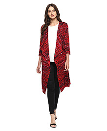 Mine4nine Wrappablec Aztec Print Maternity Cardigan Cum Shrug - Red Black