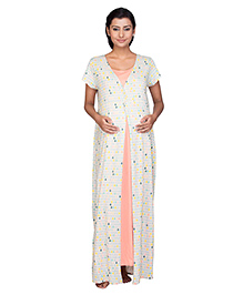 Kriti Maternity Short Sleeves Nighty Allover Print - Multi Color