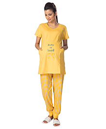 Kriti Maternity Nursing Top & Bottom Set - Yellow