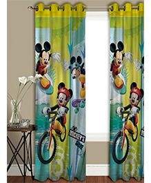 Athom Trendz Disney Mickey Mouse Long Door Curtain Set Of 2 - Blue Yellow
