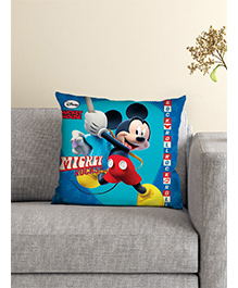 Athom Trendz Disney Mickey Mouse Cushion With Cover - Blue Multicolor