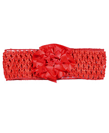Miss Diva Elegant Flower Soft Headband - Red