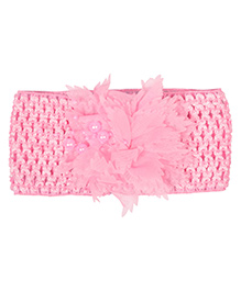 Miss Diva Pearl Flower Broad Soft Headband - Pink - 1626864