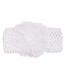 Miss Diva Rose Floral Broad Soft Headband - White