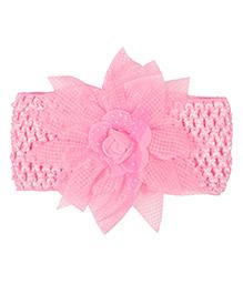 Miss Diva Floral Rose Broad Soft Headband - Pink - 1626886
