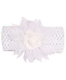 Miss Diva Floral Rose Broad Soft Headband - White - 1626889