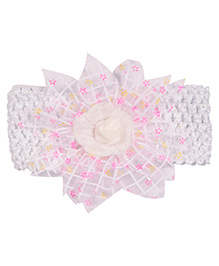 Miss Diva Floral Rose Broad Soft Headband - White