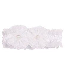 Miss Diva Double Flower & Floral Soft Headband - White
