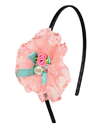 Miss Diva Beautiful Pearl & Bow Studded Flower Hair Band - Pink
