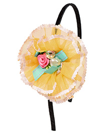 Miss Diva Beautiful Pearl & Bow Studded Flower Hair Band - Yellow