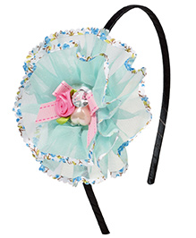 Miss Diva Beautiful Pearl & Bow Studded Flower Hair Band - Light Blue