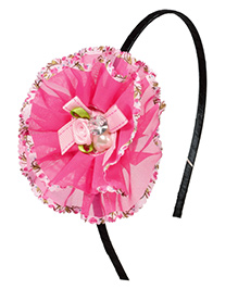 Miss Diva Beautiful Pearl & Bow Studded Flower Hair Band - Magenta