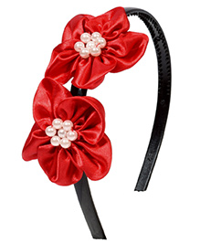 Miss Diva Stylish Pearl Beaded Double Flower Hair Band - Red