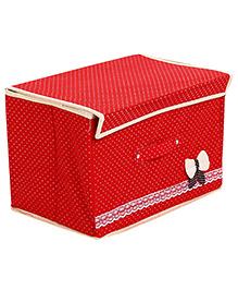 Rectangle Shape Storage Box Bow Motif - Red