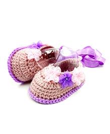 Magic Needles Crochet Booties - Pink & Purple
