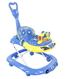 Musical Baby Walker With Push Handle - Blue Yellow