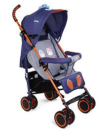 Lightweight Stroller Cum Pram With Mosquito Net - Navy Blue & Orange