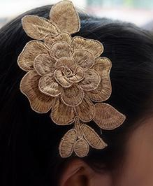 Pretty Ponytails Embroidered Rose Flower Hair Clip - Golden