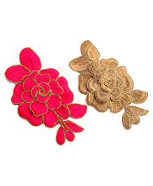 Pretty Ponytails Embroidered Rose Flower Hair Clip Set Of Two - Pink & Golden