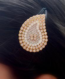Pretty Ponytails Ethnic Zardozi Paisely Hair Clip - Golden & White