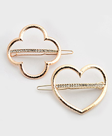 Pretty Ponytails Rosette Flower And Heart Metal Clip With Diamond Set Of 2 - Golden & Diamonds