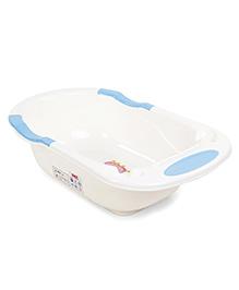 Baby Bath Tub Elephant Print - Cream & Blue