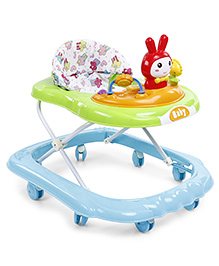 Musical Baby Walker With Rattle Play Tray - Blue Green
