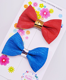 Little Tresses Combo Of 2 Medium Sized Bows On Alligator Clip - Peach & Blue