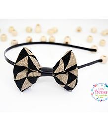 Little Tresses Geometric Triangles Fabric Bow Hairband - Black